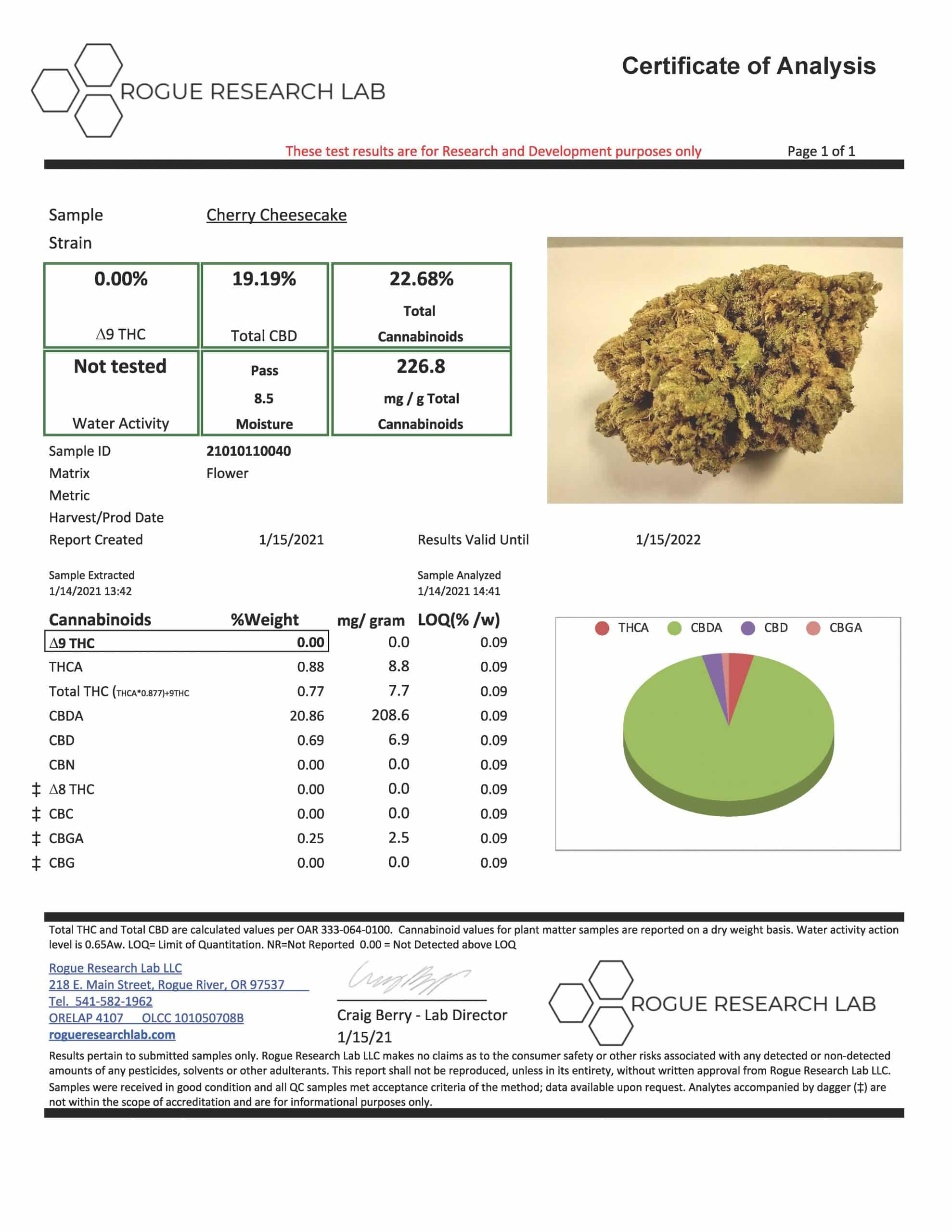Certificate of authentication for Cheese Cake CBD flower