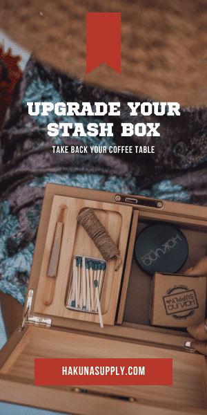 Hakuna digital banner advertisement with an image of a stash box that says Upgrade Your Stash Box with a button goes to the website